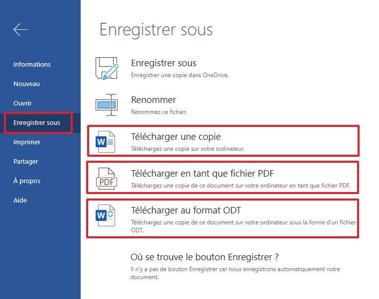 Sauvegardez le fichier sur votre ordinateur au format de votre choix. © Microsoft