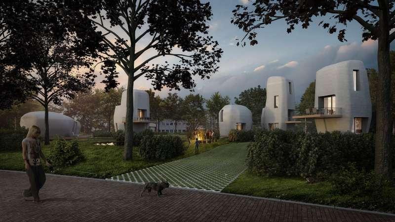Cinq maisons imprimées en 3D seront disponibles à la vente dès 2019. La première a reçu plus de 20 candidatures en une semaine. © 3dprintedhouse