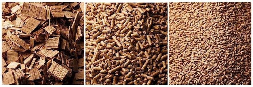 De gauche à droite : plaquettes forestières, granulés, grains énergétiques. Contrairement à la bûche, ils permettent l'automatisation du chauffage à condition de pouvoir stocker en quantité suffisante. La nouvelle marque NF Biocombustibles solides garantit la qualité des produits. © Guntamatic.fr