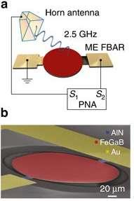 Schéma (a) et vue au microscope électronique à balayage (b) de l'antenne sensible aux ondes de 2,5 GHz. Le dispositif est qualifié de ME FBAR pour « magnétoélectrique » et « thin-film bulk acoustic wave resonator ». Gravé sur une puce aux contacts d'or (Au), il est composé de nitrure d'aluminium (AlN) et d'un alliage de fer, de gallium et de bore (FeGaB). Une antenne en cornet (Horn antenna) émet le signal et la réponse de l'antenne est analysée par un appareil de mesure (PNA). La barre d'échelle correspond à 20 microns (20 millièmes de millimètre). © Tianxiang Nan et al., Nature