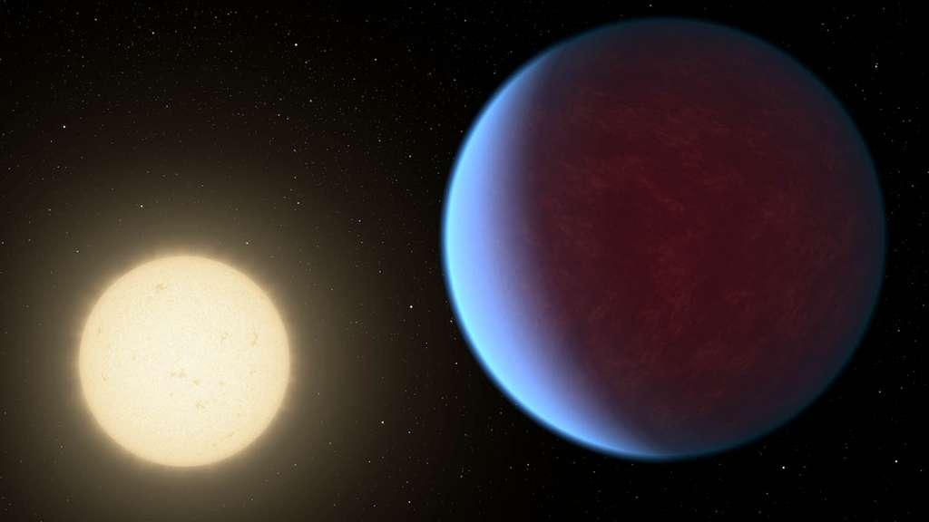 Nouvelle illustration de 55 Cancri e. La superterre serait entièrement couverte de lave et enveloppée d'une atmosphère plus épaisse que celle de la Terre, avec des matériaux volatils comparables. © Nasa, JPL-Caltech