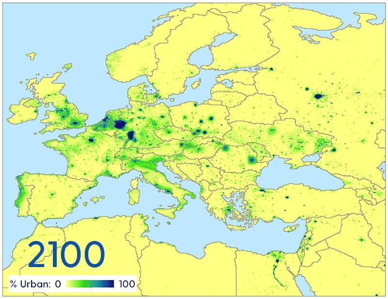 Selon le classement des chercheurs de l'université du Delaware (États-Unis), la plupart des pays d'Europe se trouvent actuellement dans la catégorie «urbanisé». La Chine sort de la catégorie «urbanisation rapide» pour entrer dans la catégorie «urbanisation régulière». La plupart des pays d'Afrique sont à classer dans la catégorie «urbanisation rapide». Ici, une carte des villes européennes en 2000 et une projection sur 2100. © Université du Delaware