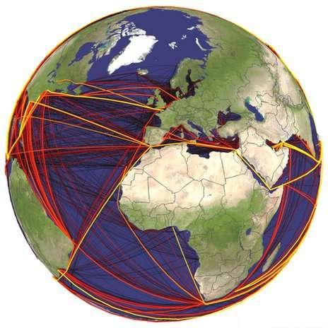 Les risques de bio-invasion liés au trafic maritime mondial. Plus les lignes reliant deux ports sont claires et épaisses, plus les risques sont importants. © Université de Bristol