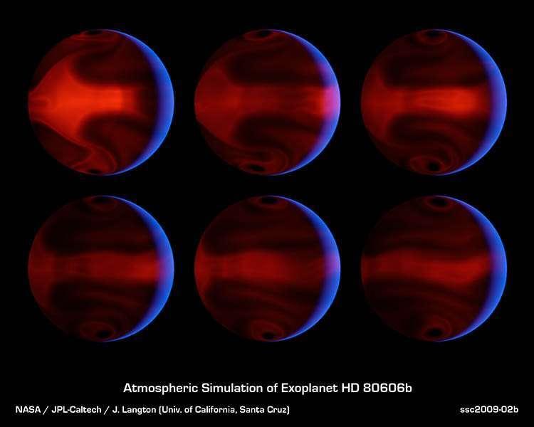 Ces images représentent à intervalle de temps régulier l'aspect de HD 80606b sur une dizaine de jours avant et après son passage au périastre de son étoile, c'est-à-dire à distance minimale. Les zones rouges dans la partie non éclairée indiquent le rayonnement thermique propre de la planète en réaction à son chauffage. Le développement d'une tempête y est bien visible. © Nasa/JPL-Caltech/J. Langton (UC Santa Cruz)