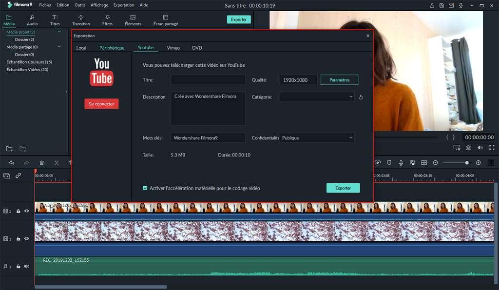 Connectez-vous à votre chaîne YouTube pour y uploader directement votre vidéo. ©Wondershare