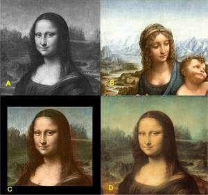En haut à gauche (A), une image de La Joconde, convertie en noir et blanc. En B, une image similaire, en couleurs, choisie par les chercheurs. Il s'agit d'une reproduction de La Madone aux fuseaux, un tableau peint également par Léonard de Vinci. En C, la reconstitution des couleurs réussie par le logiciel, assez proche de l'original (D)... © G. Charpiat, M. Hofmann, B.Schölkopf / Montage Futura-Sciences