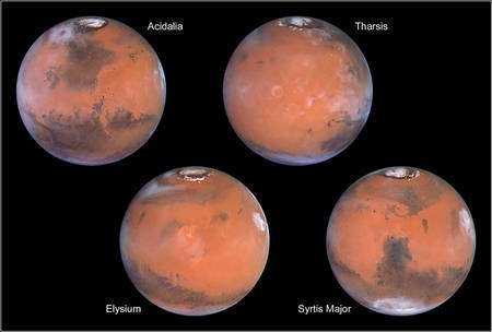 Cliquez pour agrandir. Différents aspects de Mars saisis par le télescope spatial Hubble. Crédit : Nasa