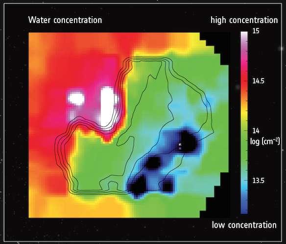Abondance de l'eau autour du noyau de 67P/Churyumov-Gerasimenko cartographié grâce aux données collectées par le petit spectromètre Miro de Rosetta. Les régions colorées en rouge, orange et blanc affichent la densité la plus élevée tandis que celles teintées de vert, bleu et noir présentent les concentrations les plus faibles. La partie noire, la moins abondante, est la région du pôle sud de la comète. © Esa, Rosetta, Miro