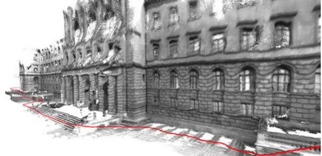 Voici à quoi ressemble la façade de l'École polytechnique fédérale de Zurich numérisée en 3D grâce au logiciel installé sur une tablette Android issue du projet Tango de Google. Le tracé rouge représente le parcours emprunté par la personne qui a réalisé l'expérience. Précision important, cette image a fait l'objet d'un traitement après la production pour en améliorer la qualité. © ETH Zurich, Thomas Schöps