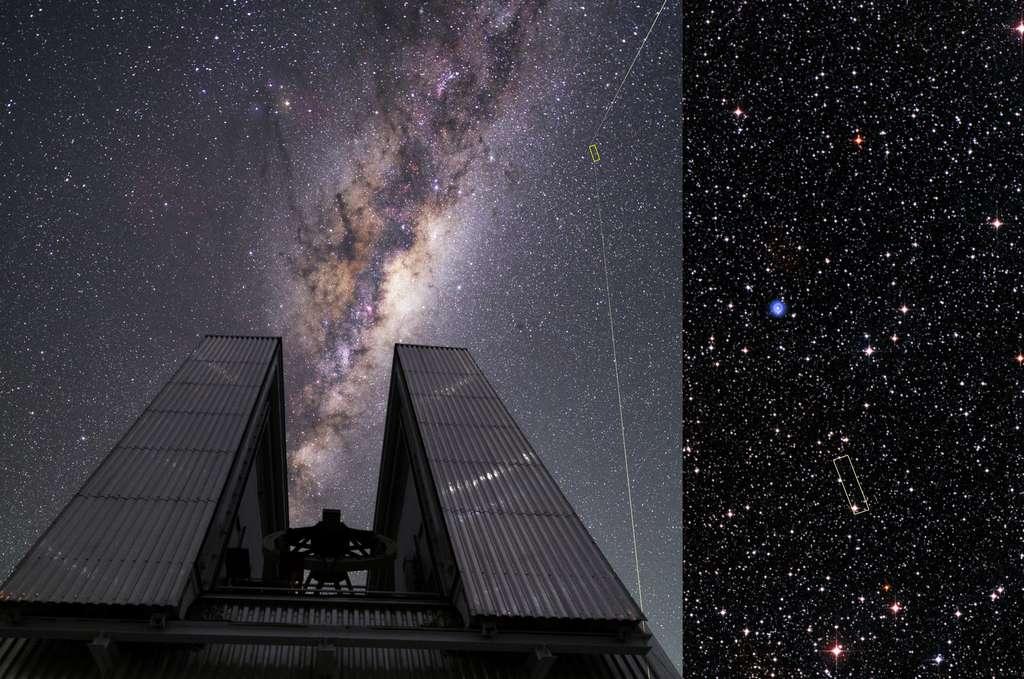Une équipe d'astronomes brésiliens et américains conduit par Jorge Melendez de l'université de São Paulo ont utilisé deux télescopes d'ESO (Observatoire européen austral) pour découvrir que cette étoile, appelée 2MASS J18082002–5104378, est en fait une rare relique de l'époque de la formation de la Voie lactée. En tant que telle, elle fournit aux astronomes une précieuse opportunité pour étudier les premières étoiles qui sont nées dans notre galaxie. 2MASS J18082002–5104378 a été remarquée en 2014 par le télescope New Technology Telescope d'ESO. Des observations successives avec le Very Large Telescope ont montré que, au contraire des étoiles jeunes comme le Soleil, cette étoile montre une très grande pauvreté en métaux - les éléments chimiques plus lourds que l'hydrogène et l'hélium. En fait, ces éléments manquent tellement qu'on appelle cette étoile une UMP (ultra metal-poor star en anglais). Elle est, en outre, la plus brillante UMP jamais découverte ! © ESO/Beletsky/DSS1 + DSS2 + 2MASS