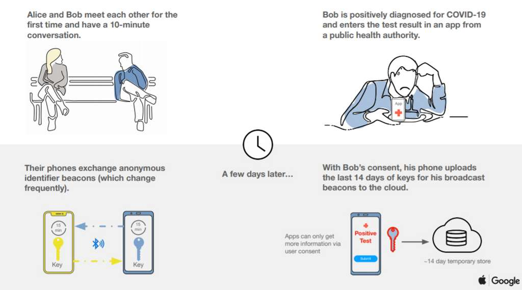 Tous les échanges Bluetooth entre des contacts sont conservés pendant 14 jours avec un système de clés qui ne permet aucune identification personnelle © Google
