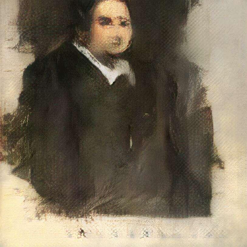 Le portrait Edmond de Belamy est un jeu de mots qui rend hommage à Ian Goodfellow (bon ami en français), chercheur chez Google et inventeur des réseaux antagonistes génératifs. © Obvious