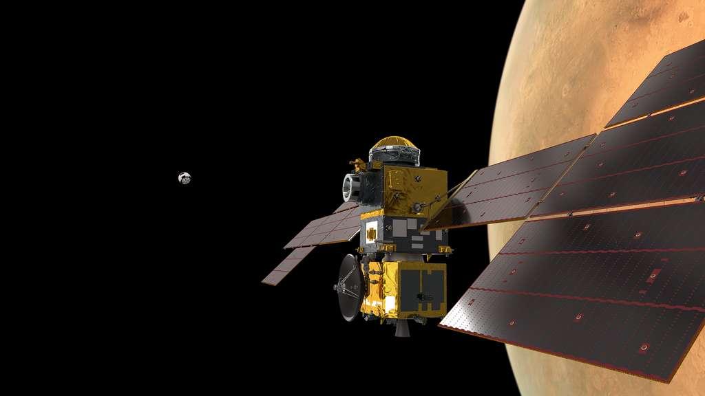 ERO (Earth Return Orbiter), le satellite de capture et de retour de la mission MSR utilisera un système de propulsion dédié pour freiner et se mettre en orbite autour de Mars. Ce module d'insertion en orbite (IOM) sera réalisé par Thales Alenia Space. © ESA, ATG-Medialab