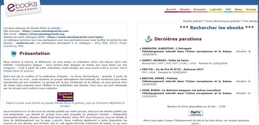 Ebooksgratuits.com propose 2.800 ebooks dans les formats de lecture les plus populaires. © Ebooks libres et gratuits