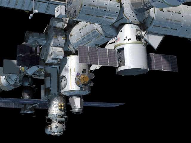 Ce dessin montre la capsule Dragon (au premier plan), qui apportera à l'équipage de l'ISS 460 kilogrammes de fret, surtout des consommables non essentiels. © SpaceX