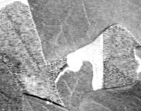 Canal A (un des deux canaux de chrominance). On observe clairement les pavés des artefacts de compression (le contraste a été renforcé pour les mettre en évidence). © J.-P. Louvet