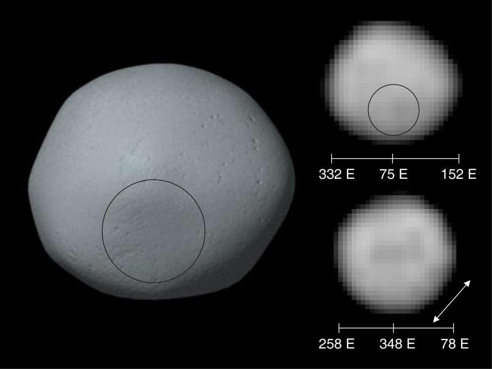 À gauche, une image de synthèse de la surface de Pallas réalisée à partir des images prises par Hubble et que l'on voit à droite. Le cercle indique la localisation de la dépression constituant peut-être les restes d'un cratère d'impact ancien. © Science