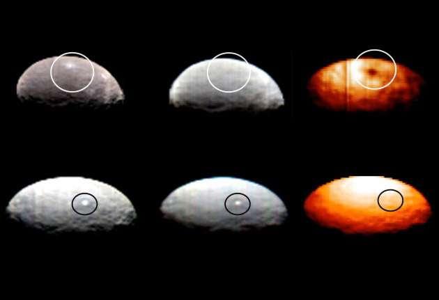 Nouvelle surprise pour les astronomes : selon la longueur d'onde, certains des curieux points lumineux prennent des aspects différents. On voit ici, observées dans le visible et dans l'infrarouge par l'instrument VIR, les taches Spot 1 (en haut) et Spot 5 (en bas). Conclusion : Spot 1 est plus froid que la région qui l'entoure alors que Spot 5 est à la même température. © Nasa/JPL-Caltech/UCLA/ASI/INAF
