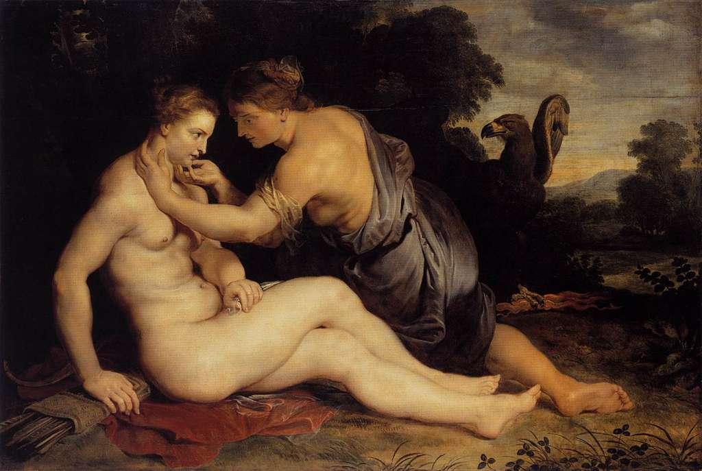 Callisto sous le charme de Zeus (Jupiter), plus précisément d'Artemis (Diane) dont il a pris l'apparence. Tableau de Rubens. © Peter Paul Rubens