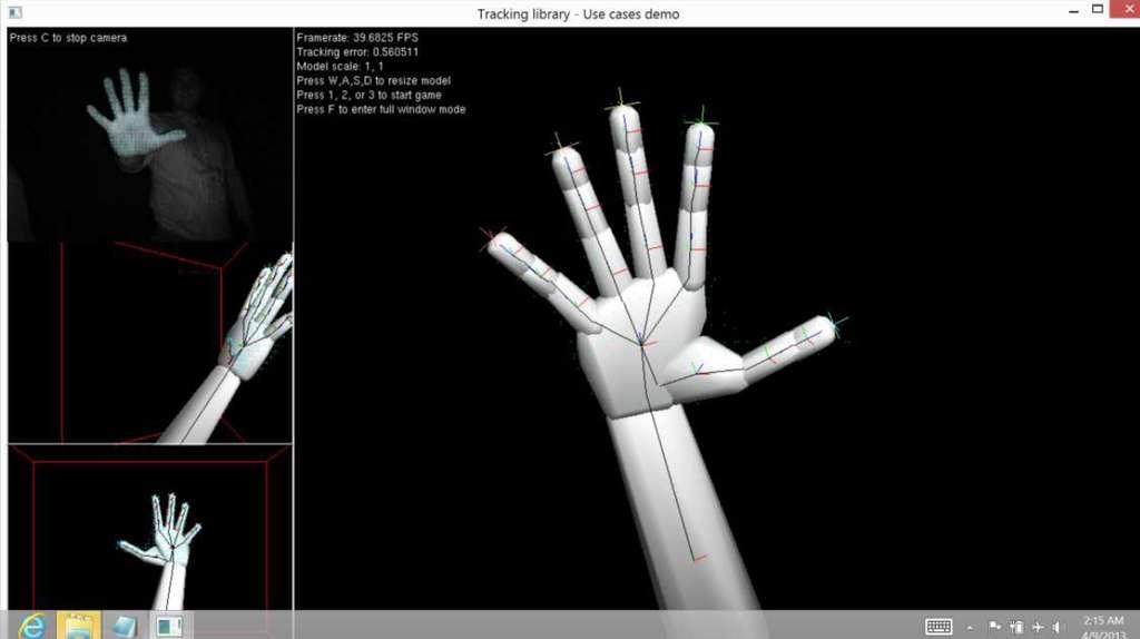 La webcam 3D pour PC portable d'Intel sera capable de tracer précisément les contours et les caractéristiques physiques d'un objet pour l'identifier et interpréter ses mouvements. On voit ici l'exemple des doigts de la main mais l'outil pourrait aussi analyser les émotions d'un individu en suivant les expressions de son visage et, pourquoi pas, utiliser la reconnaissance faciale pour identifier un utilisateur. © Intel