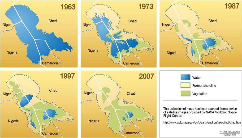 L'assèchement du lac Tchad entre 1963 et 2007. © Unep, Programme des Nations unies pour l'environnement