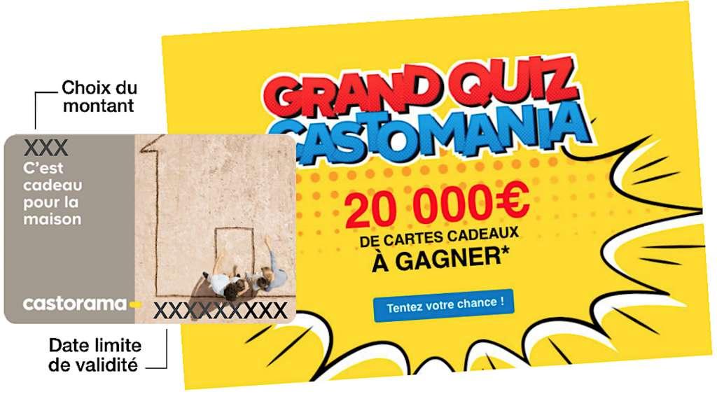 Le quizz de cette GSB a permis aux vainqueurs de gagner des cartes cadeaux d'une valeur de 2000 à 10 €, selon la place obtenue par tirage au sort. © D'après docs Castorama