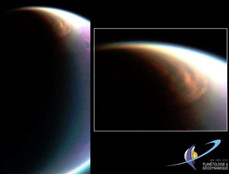 En 2007 Cassini avait photographié des nuages d'éthane à basse altitude sur le pôle Nord de Titan. © Nasa/Esa