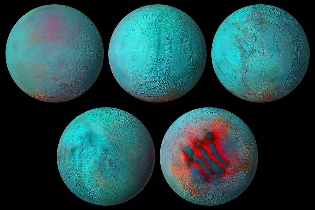 Ici, cinq vues infrarouges d'Encelade, la lune glacée de Saturne. D'abord centrée sur le côté avant, puis sur le côté tourné vers Saturne et sur le côté arrière. Et sur la seconde ligne, les pôles nord et sud. © Nasa, JPL-Caltech, University of Arizona, LPG, CNRS, Université de Nantes, Space Science Institute
