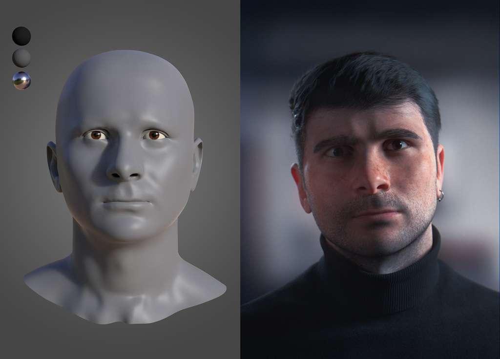 Exemple de modélisation 3D d'un visage avant et après le rendu. © Laurent Wassouf, Esma