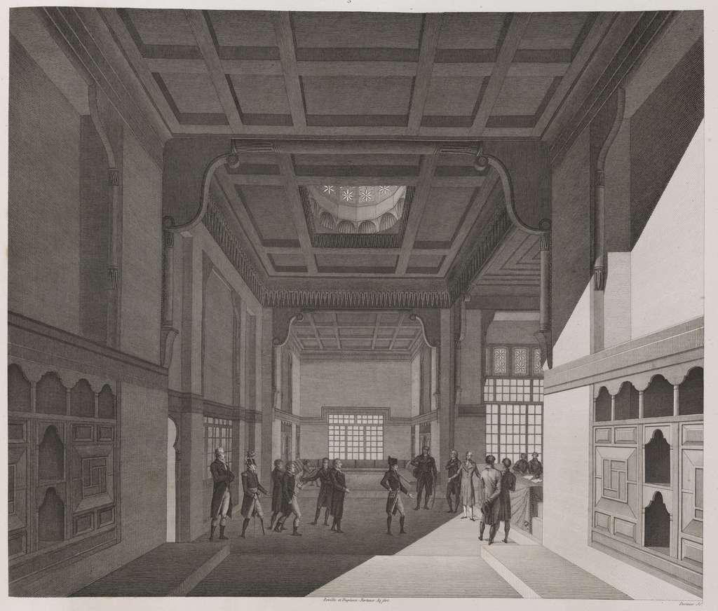 Institut d'Egypte au Caire, palais de Hassan Kachif, grande salle des séances de l'Institut ; gravure de Réville et Duplessi-Bertaux en 1809, imprimerie impériale, Paris. © Wikimedia Commons, domaine public.