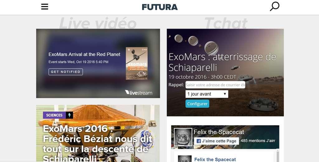 Nos journalistes, ainsi que le chat Félix, seront là, ce 19 octobre, à partir de 15 h, pour suivre avec vous cet évènement. Pour venir tchatter, rendez-vous sur notre page spéciale ExoMars, par exemple en tapant cette adresse dans un navigateur : http://www.futura-sciences.com/exomars2016/ © Futura