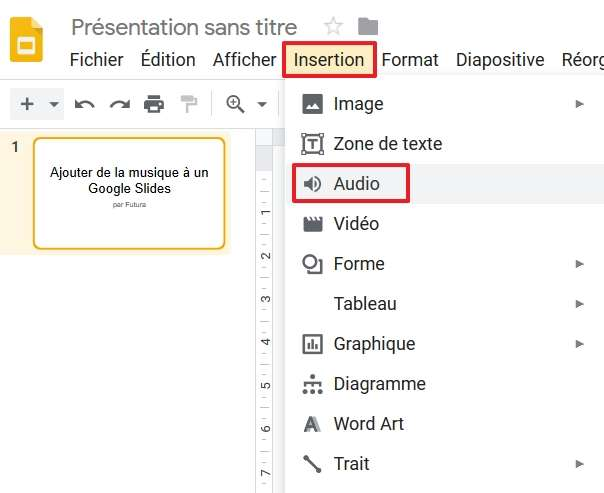 Cliquez sur « Insertion », puis sur « Audio ». © Google Inc.