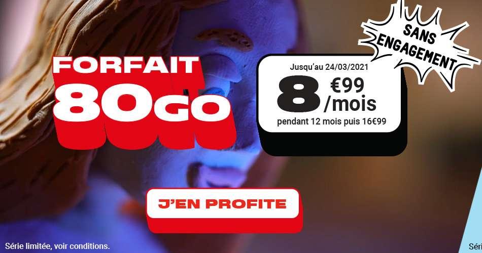 Forfait 80Go à seulement 8.99€ / mois © NRJ Mobile