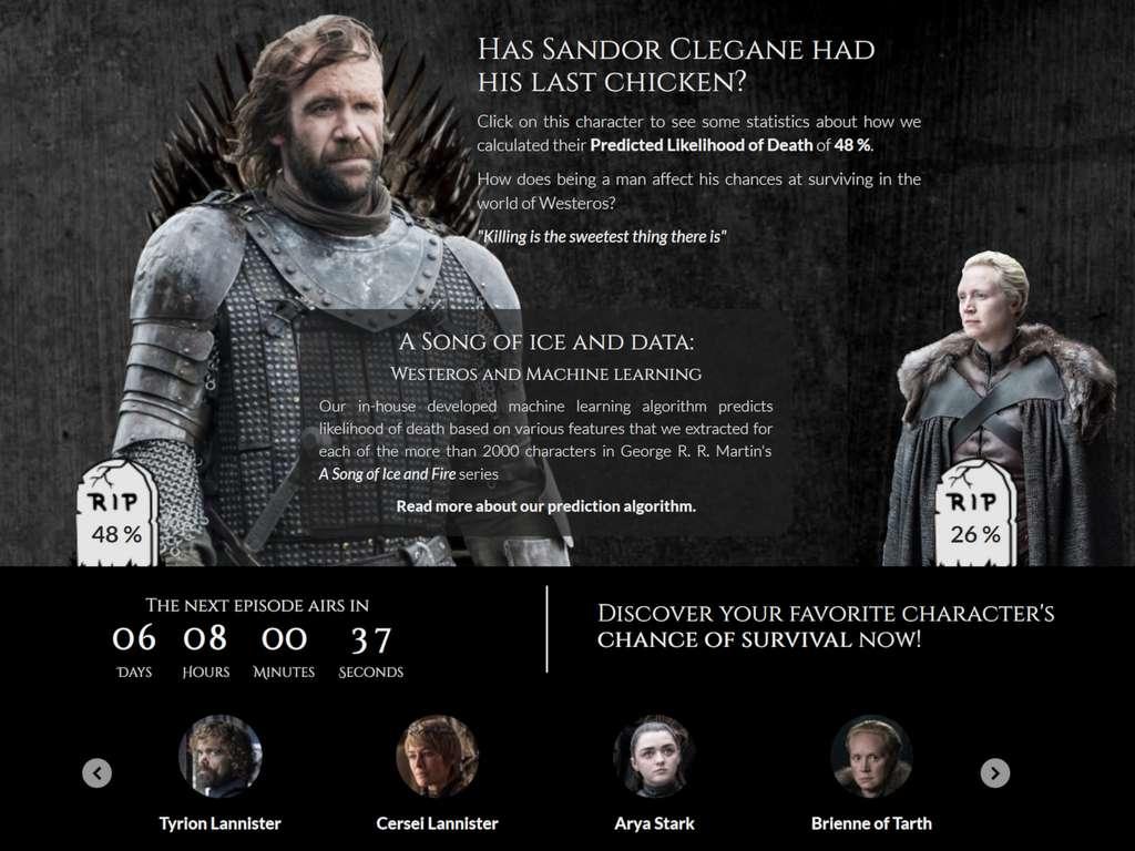 La page d'accueil de got.show, un site mis en ligne par des étudiants de l'université de Munich, présente deux des personnages principaux de Game of Thrones (GoT) et leurs chances de survie dans la saison 8 de la série. © GoT-Team / Technische Universität München