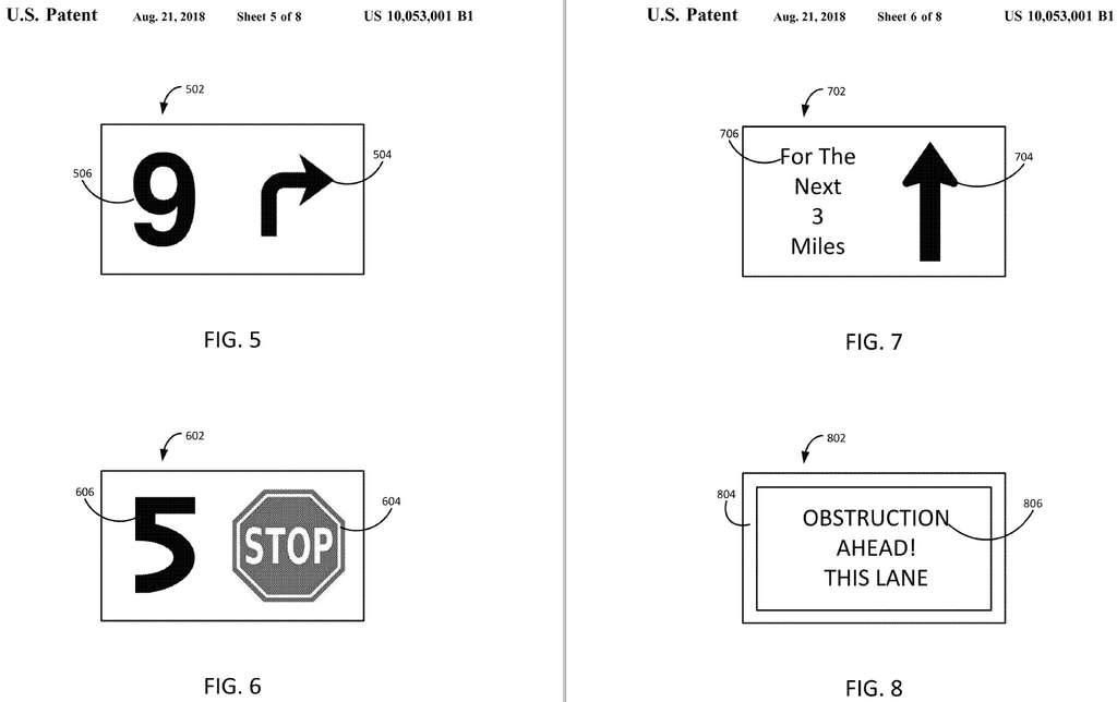 Un système de compte à rebours permettra au conducteur et aux passagers de mieux anticiper les manœuvres de la voiture autonome. © USPTO