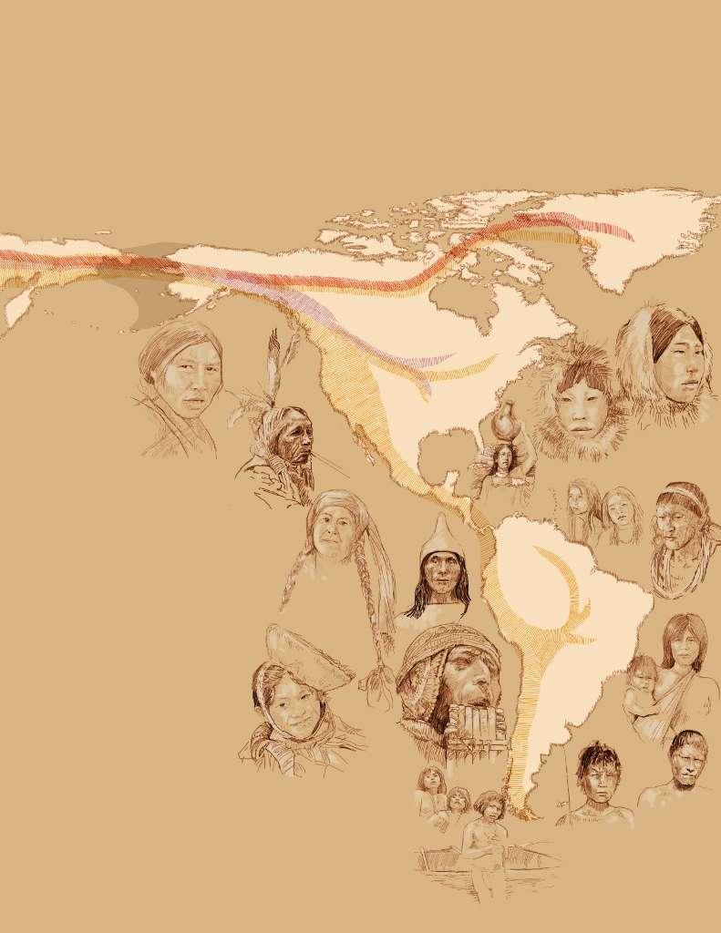 Les Amériques auraient été colonisées une première fois par des peuplements provenant de la Sibérie voici 15.000 ans. Cette migration se serait poursuivie jusqu'à l'extrême sud du continent (en jaune sur la figure). Deux autres vagues se seraient succédé après, mais les peuples n'auraient pas poussé l'aventure au-delà de l'Amérique du Nord (en rouge et mauve). © Emiliano Bellini