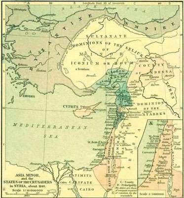 Etats chrétiens au Proche Orient © Wikipedia