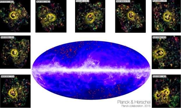 Tout autour de la zone du ciel observé par Planck : quelques images de Herschel, avec les contours de densité de galaxies. © Esa and the Planck Collaboration, H. Dole, D. Guéry, G. Hurier, IAS, université Paris-Sud, CNRS, Cnes