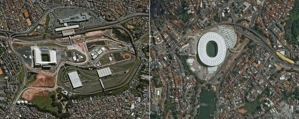 De gauche à droite, les stades de São Paulo (Arena Corinthians) et de Salvador (Fonte Nova). @ Cnes 2014/Distribution Astrium Services/Spot Image S.A.