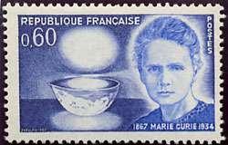 Timbre en l'honneur de Marie Curie émis en 1967 pour le centenaire de sa naissance