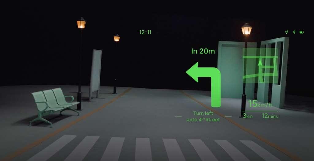 Les lunettes Smart Glass permettront d'afficher en réalité augmentée les instructions lors d'une navigation. La géolocalisation se fait grâce à la puce GPS implantée dans les branches des lunettes. © Xiaomi