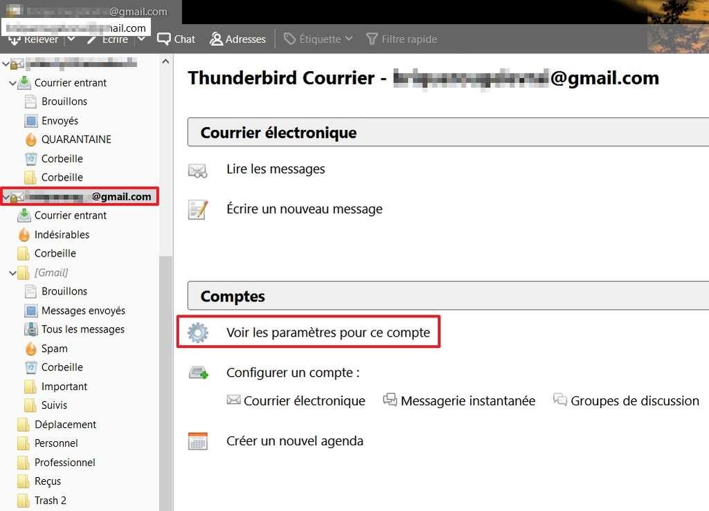 Allez dans les paramètres du compte de messagerie de votre choix. © Mozilla Foundation