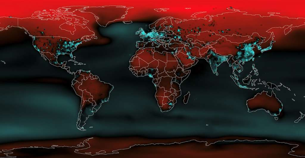 Sur cette carte, en turquoise, les pays qui ont émis relativement plus de gaz à effet (GES) de serre par rapport aux augmentations de température attendues. En rouge, ceux qui ont émis peu de GES par rapport aux hausses de températures prévues. © Van Houtan et al., Aquarium de Monterey Bay