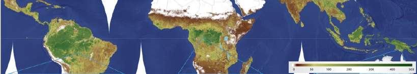 Cartographie de la séquestration de carbone par la végétation tropicale (échelle en tonnes par hectare). © Baccini et al. 2012, Nature Climate Change - adaptation Futura-Sciences