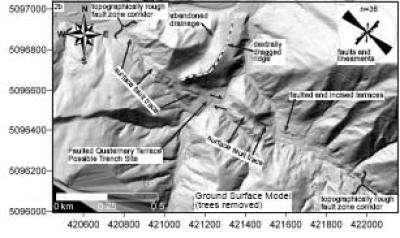 Sous l'œil du Lidar, des lignes de failles apparaissent sous la végétation de cette région alpine de Slovénie. Jusque-là, aucun géologue ne les avaient vues. Crédit : Cunningham D., Grebby S., Tansey K., Gosar A., et Kastelic, V.