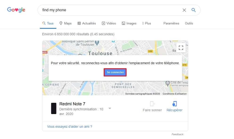Connectez-vous si besoin et cliquez sur le plan. © Google