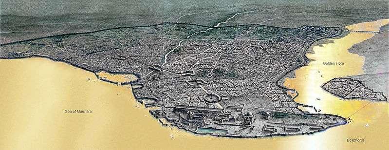 Sur ce plan de Constantinople à l'époque byzantine, située sur les rives européennes du détroit du Bosphore (Bosphorus), on peut apercevoir ce qui fut le port de Théodose sur la façade de la mer de Marmara (Sea of Marmara). Aujourd'hui, les archéologues y ont trouvé à cet emplacement 37 épaves de navires. © DeliDumrul, Wikipédia, DP