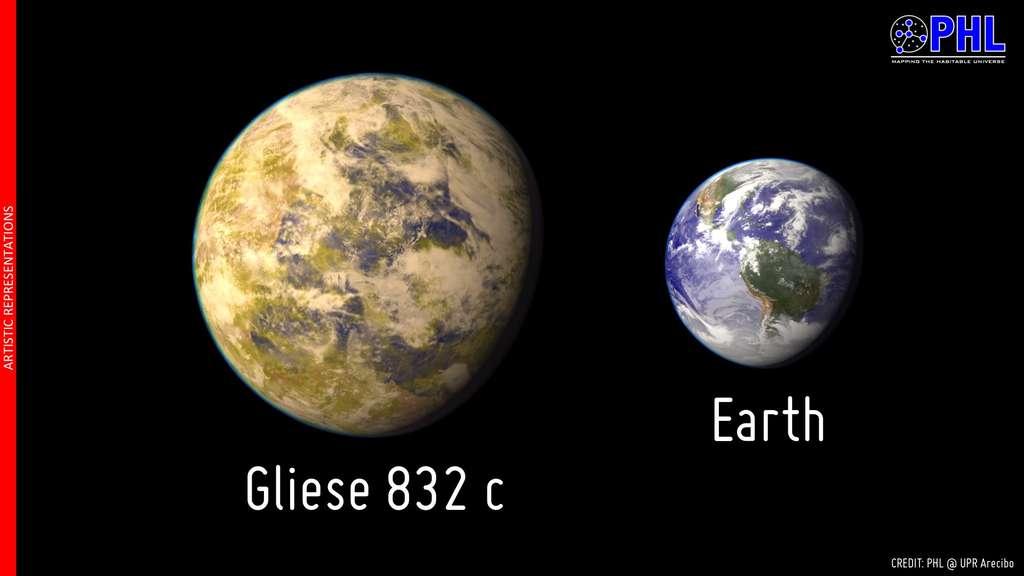 Comparaison de la taille de Gliese 832c, meilleure candidate à l'habitabilité dans notre voisinage galactique, avec la Terre. © UPR Arecibo