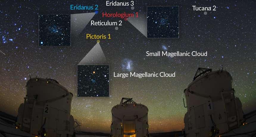 Des images de certaines des galaxies naines en orbite autour de la Voie lactée. © V. Belokurov et S. Koposov, IoA, Cambridge ; Y. Beletsky, Carnegie Observatories