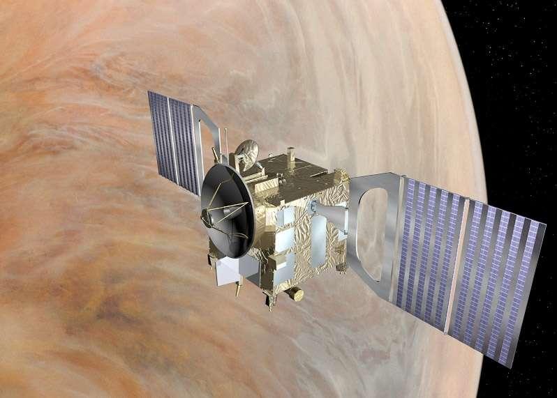Lancée en novembre 2005 et en orbite depuis avril 2006, Venus Express a depuis rempli ses objectifs scientifiques, notamment sur la connaissance de son atmosphère. L'Esa peut bien tenter une manœuvre délicate d'aérofreinage pour baisser son orbite. © Esa
